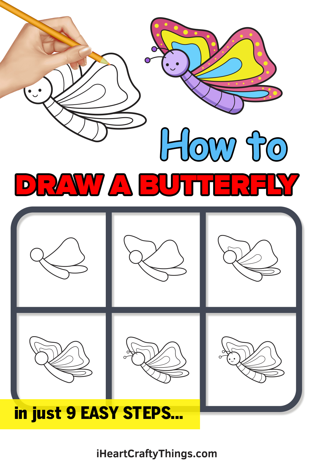 how to draw a butterfly in 9 easy steps