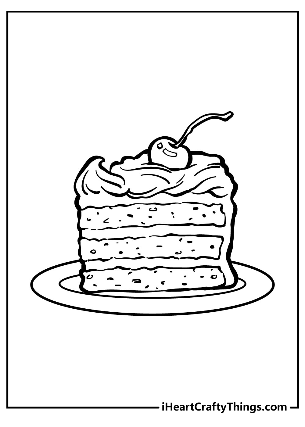 slice cake with cherry coloring pages free download
