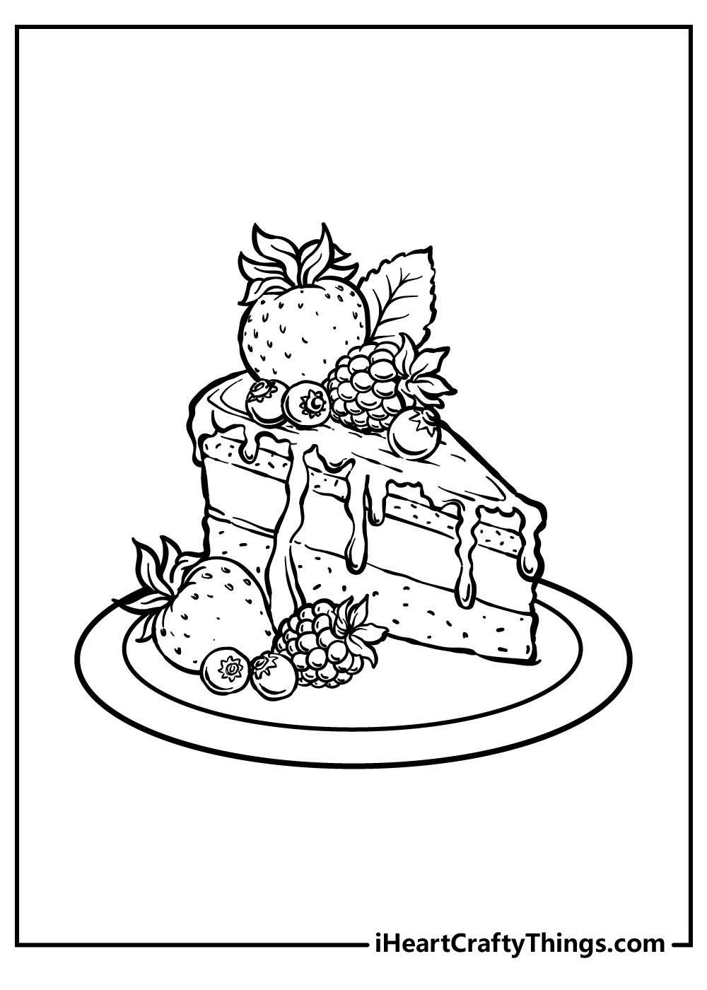slice cake coloring pages for adults free printables