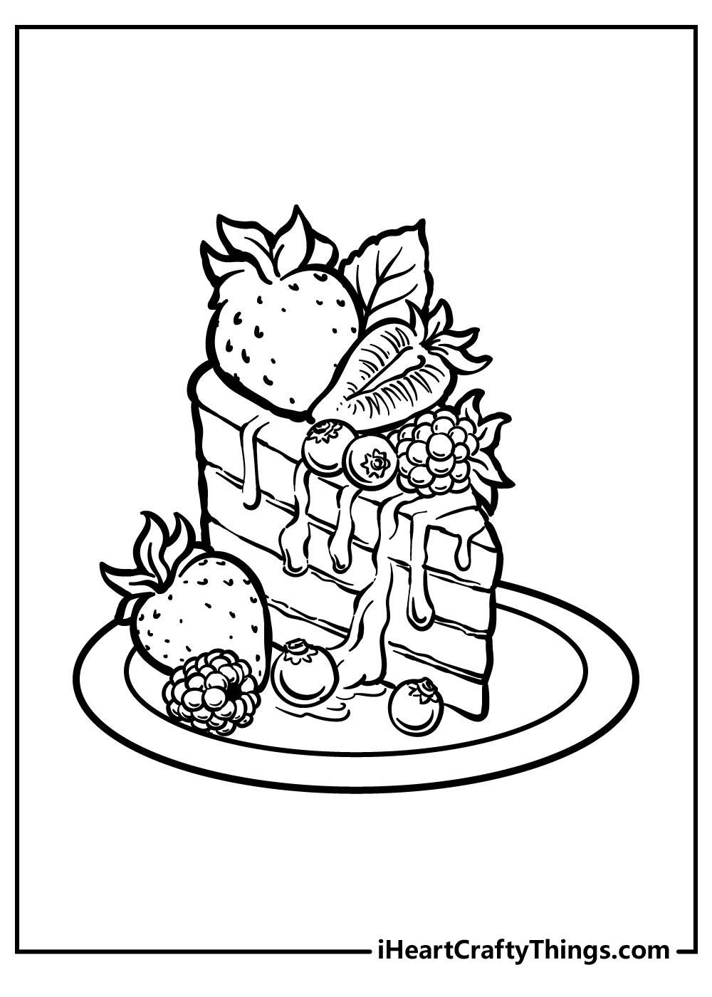 simple cake slice coloring pages free pdf