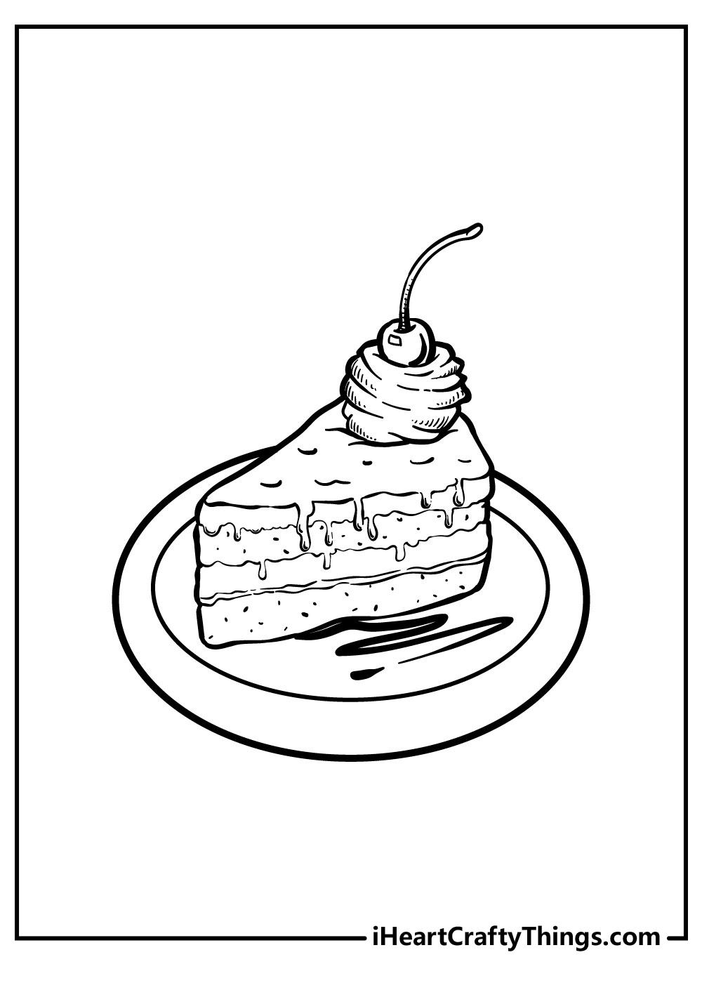 small cake slice coloring pages free printables