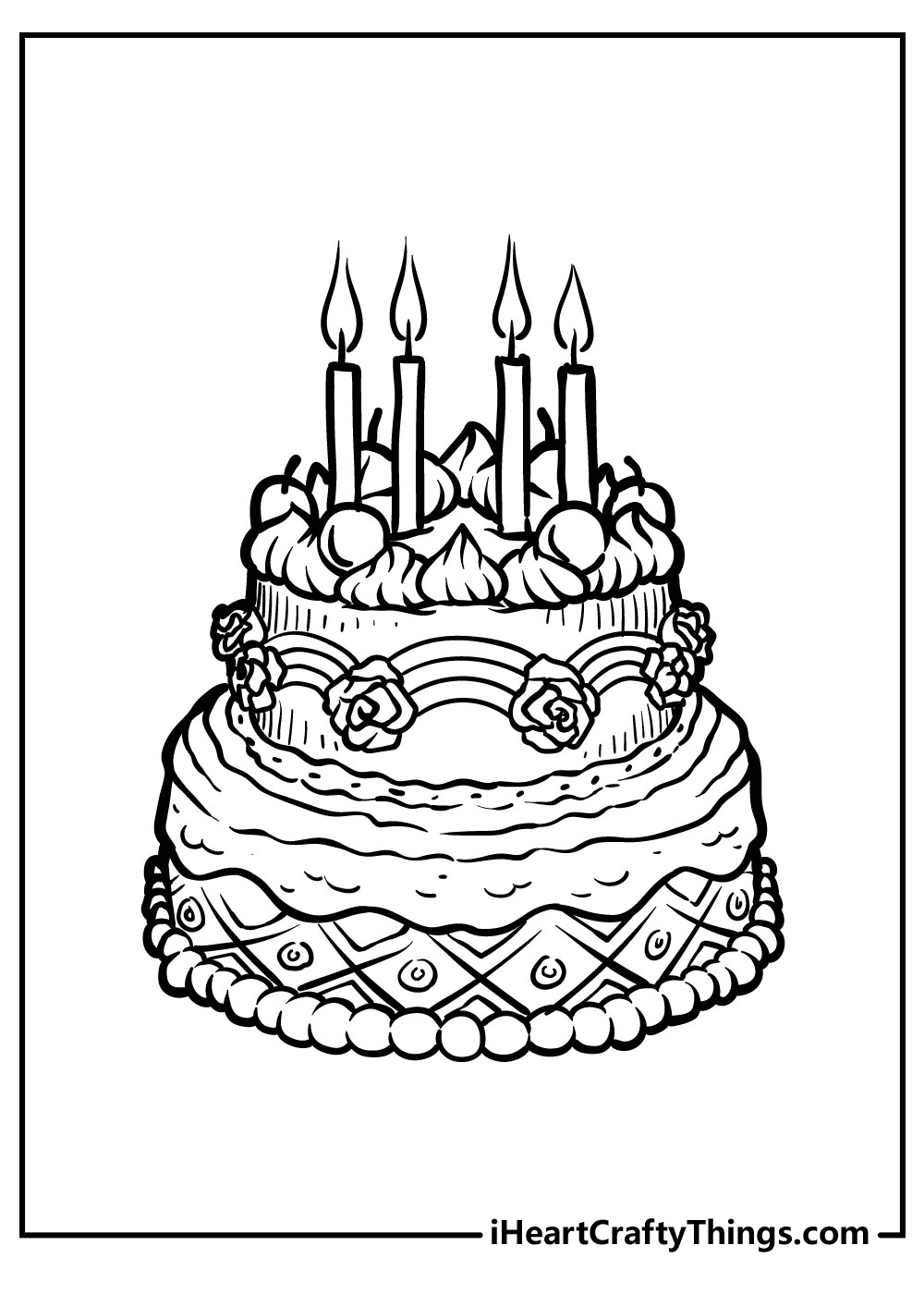 happy birthday cake coloring pages for girl