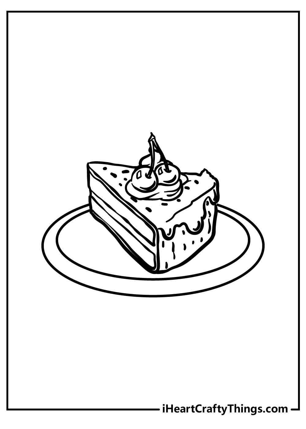 slice of cake coloring pages for kids free print out