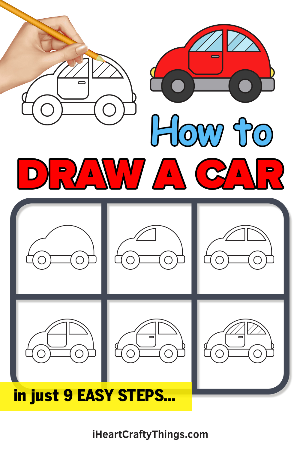 how to draw a car in 9 easy steps