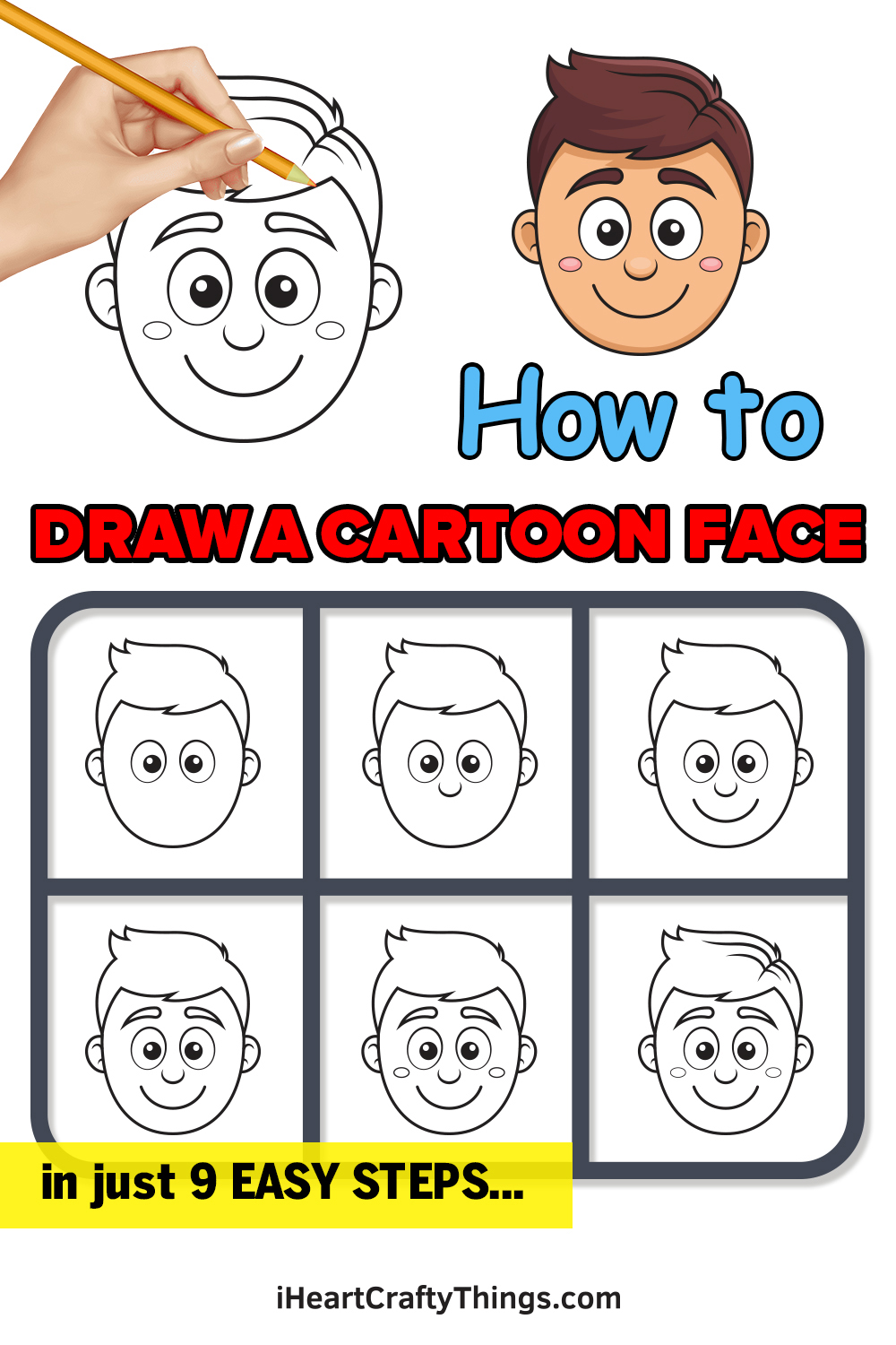 How to Draw a Cartoon Face in 9 Steps