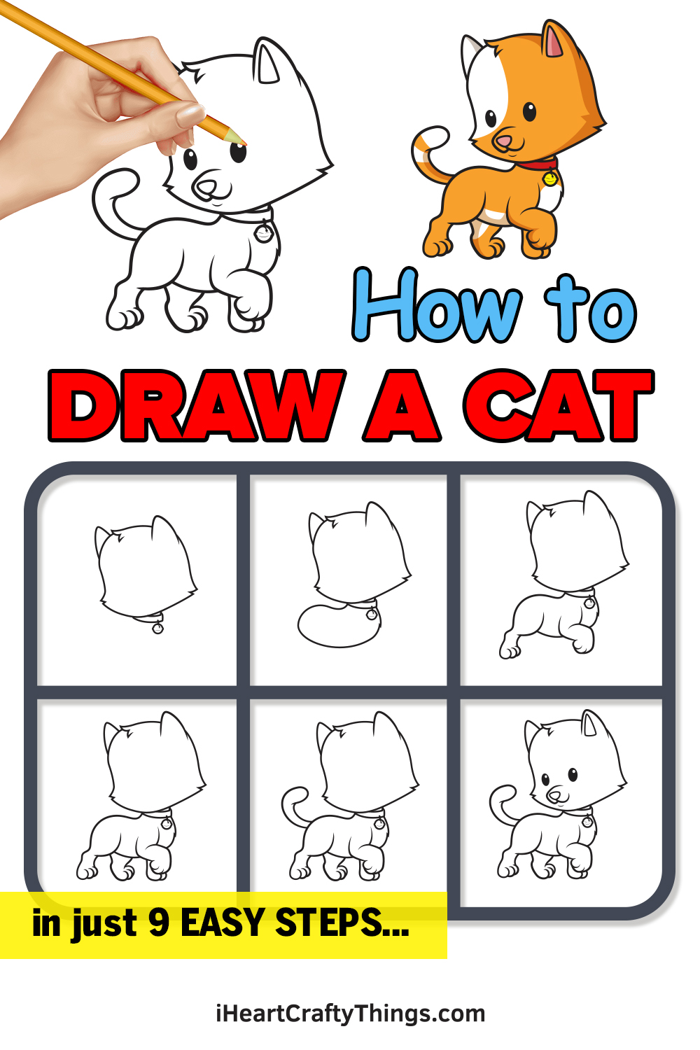 how to draw a cat in 9 easy steps