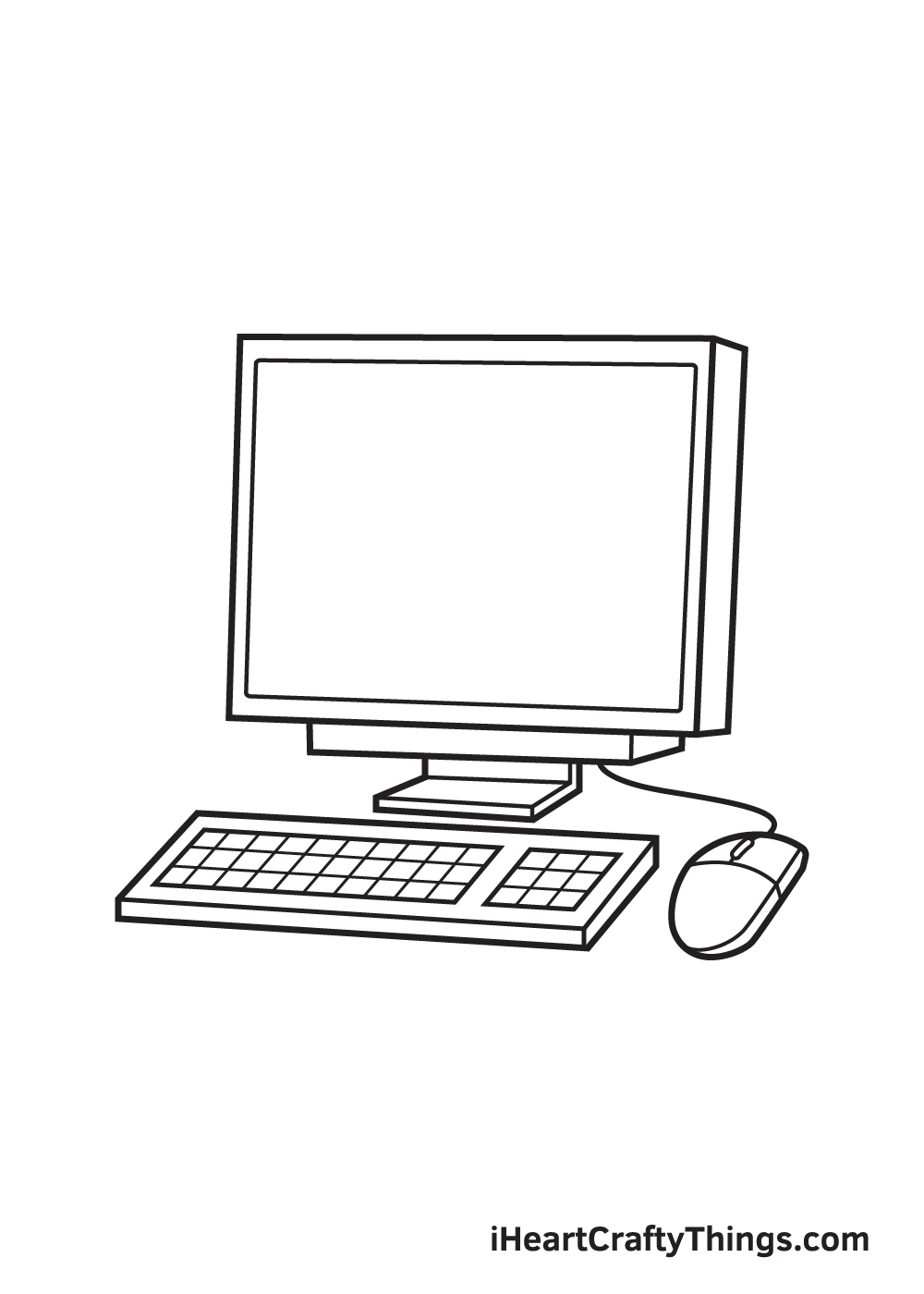 Computer Drawing How To Draw A Computer Step By Step