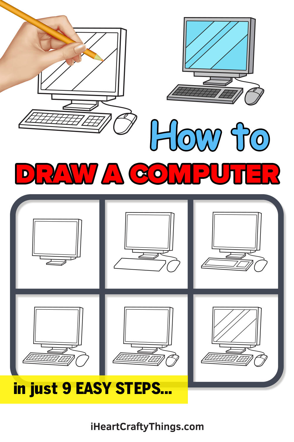 how to draw computer in 9 easy steps