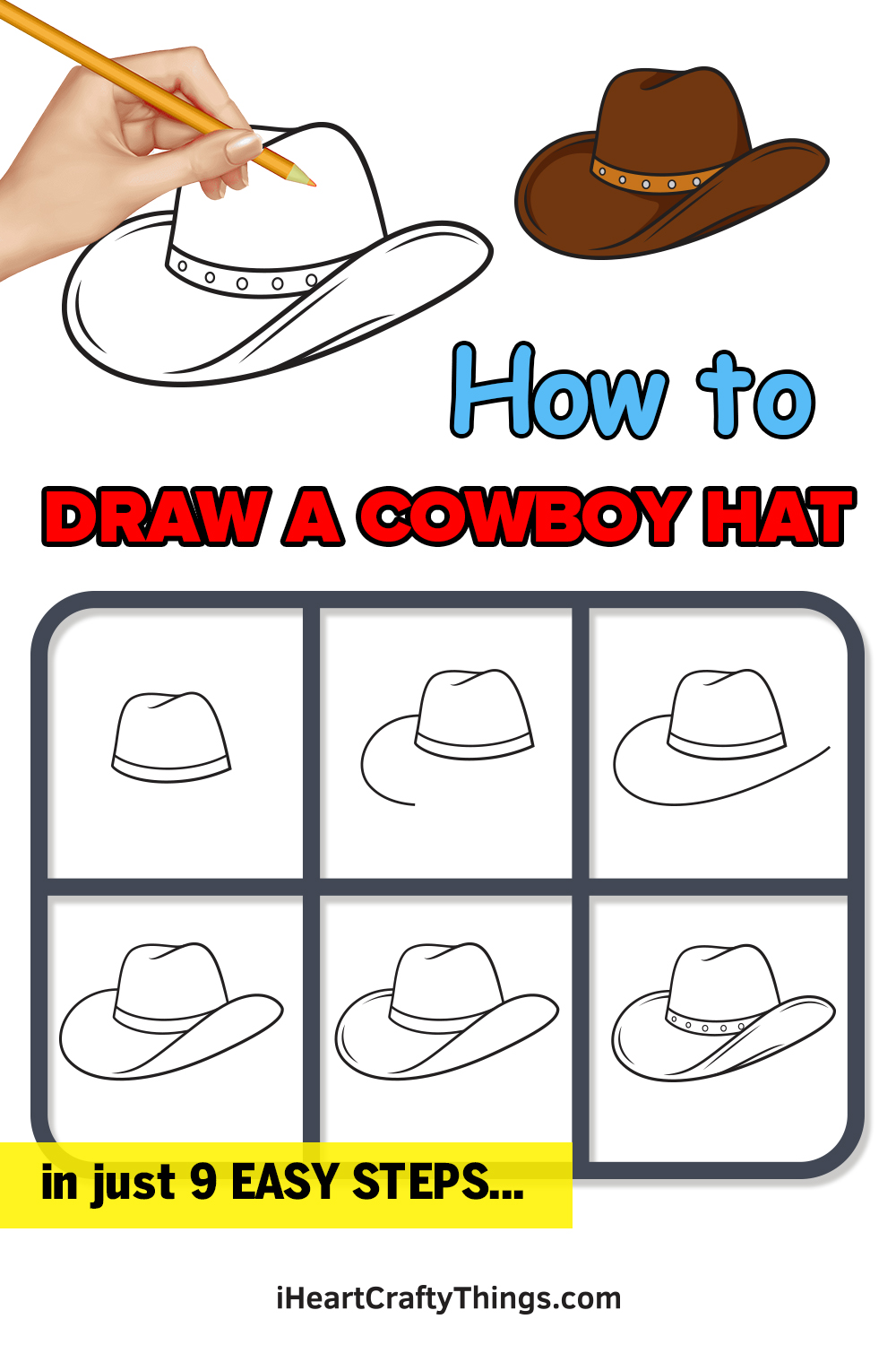 how to draw a cowboy hat in 9 easy steps