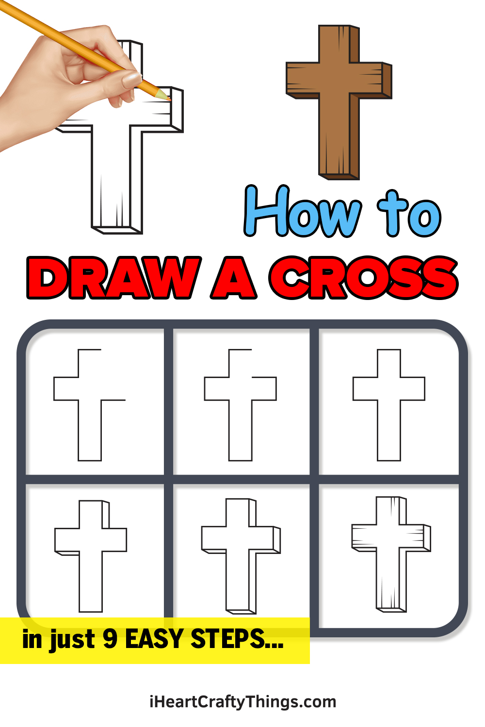 how to draw a cross in 9 easy steps