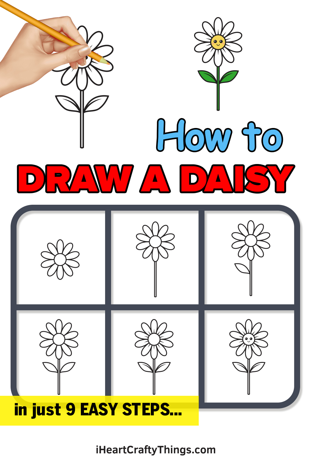 how to draw a daisy in 9 easy steps