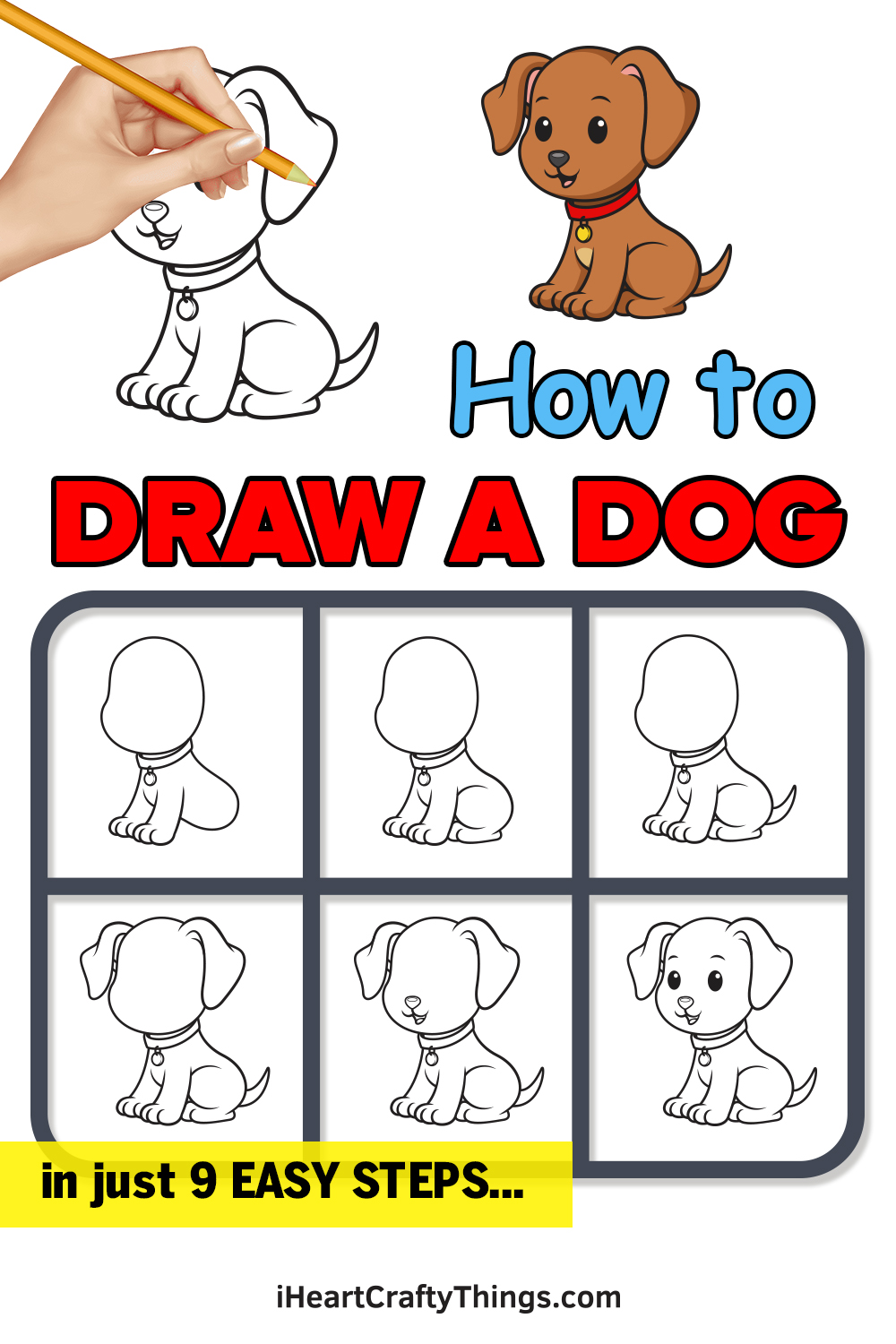 how to draw a dog in 9 easy steps
