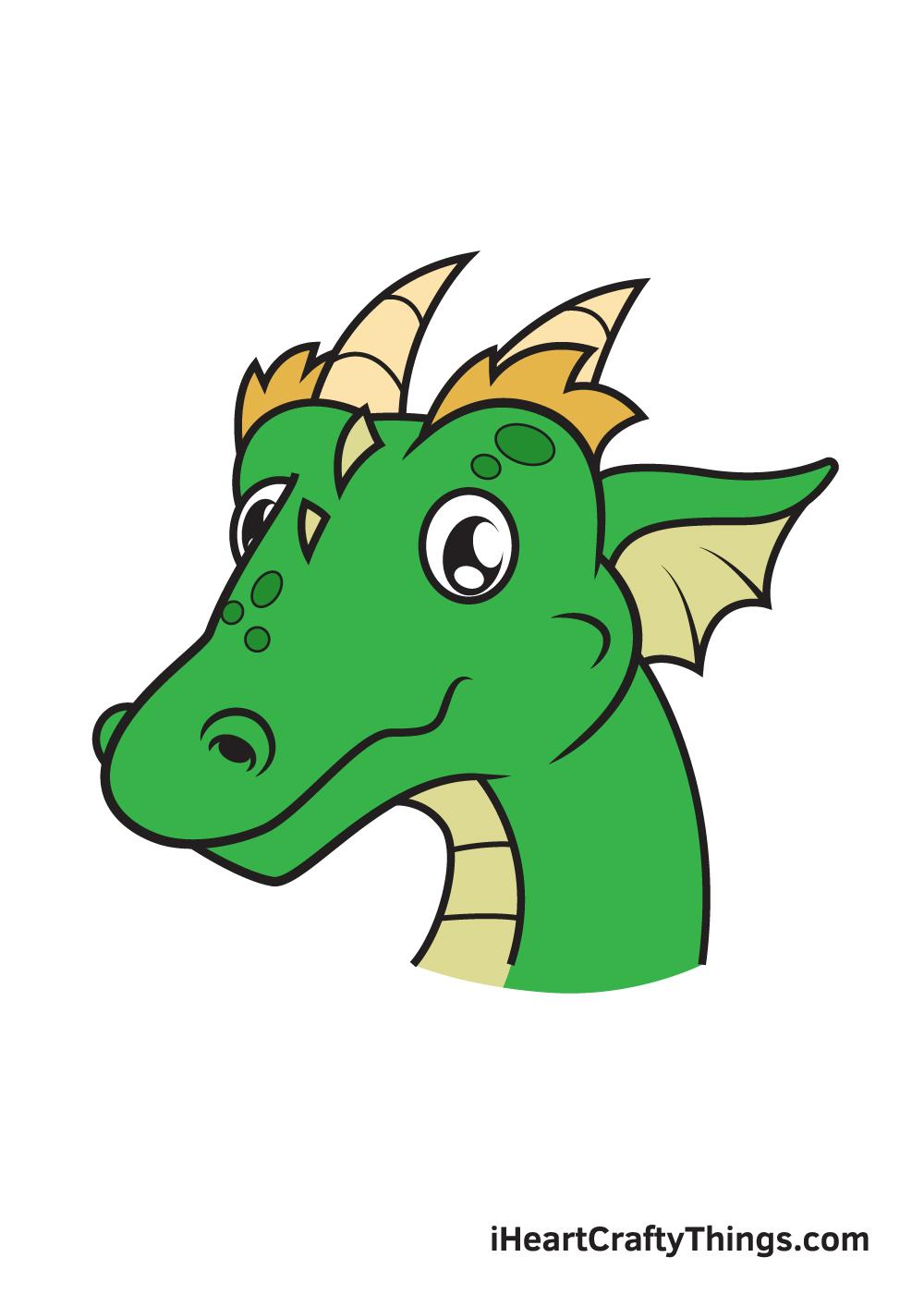 dragon head drawing - 9 steps