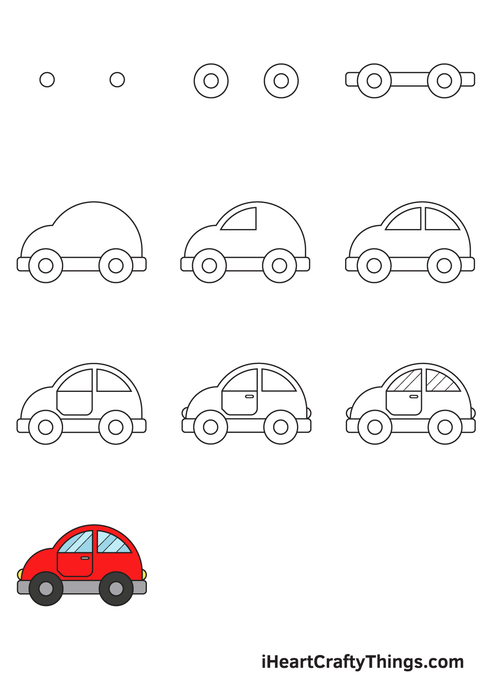 how to draw a car in 9 steps