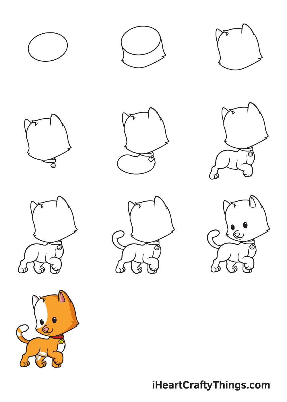 drawing cat in 9 easy steps