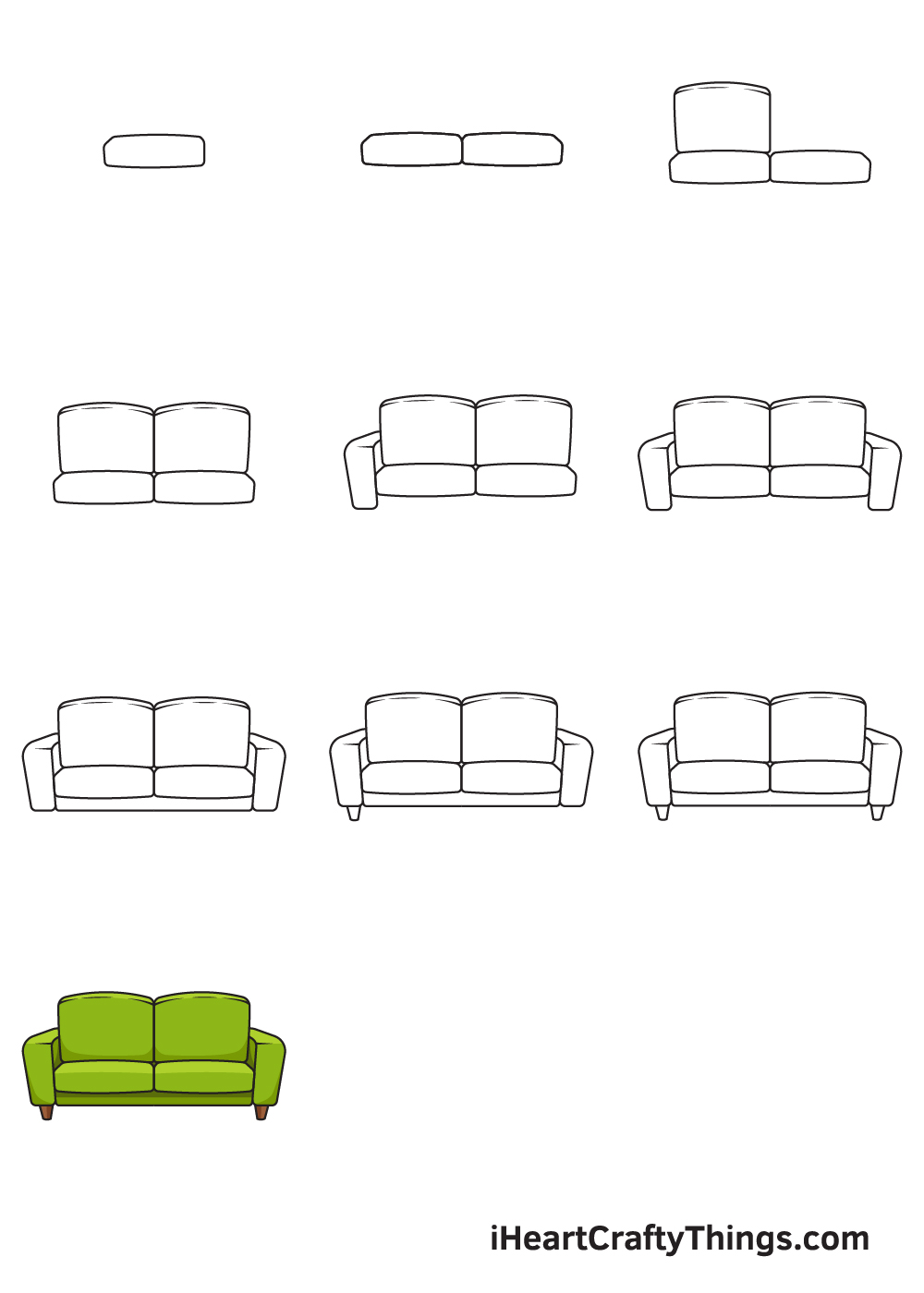 Drawing Couch in 9 Easy Steps