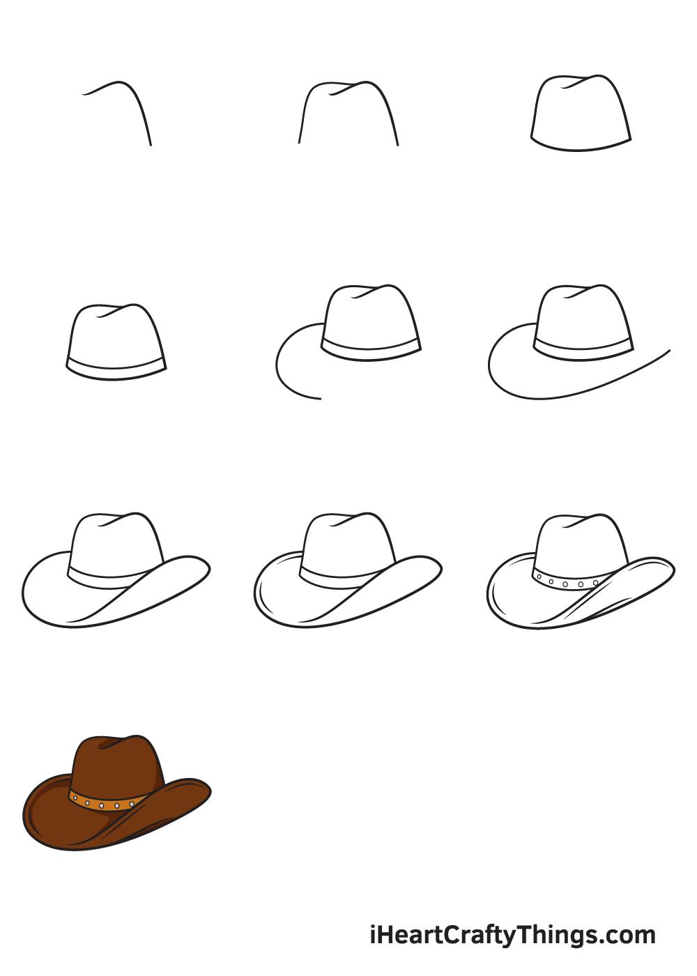 drawing cowboy hat in 9 easy steps