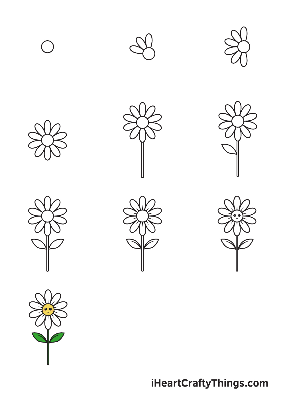 drawing daisy in 9 easy steps