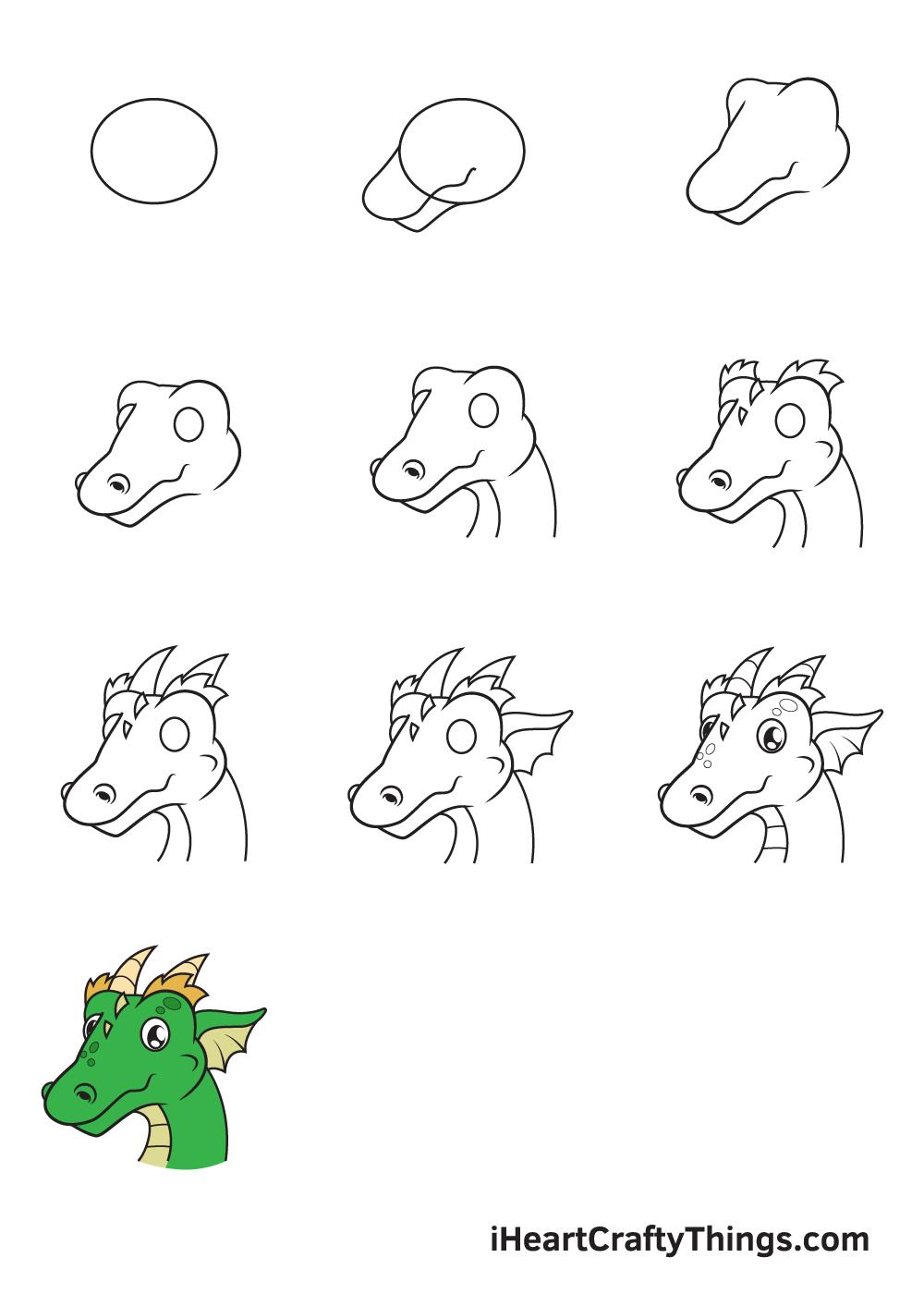 drawing dragon head in 9 easy steps