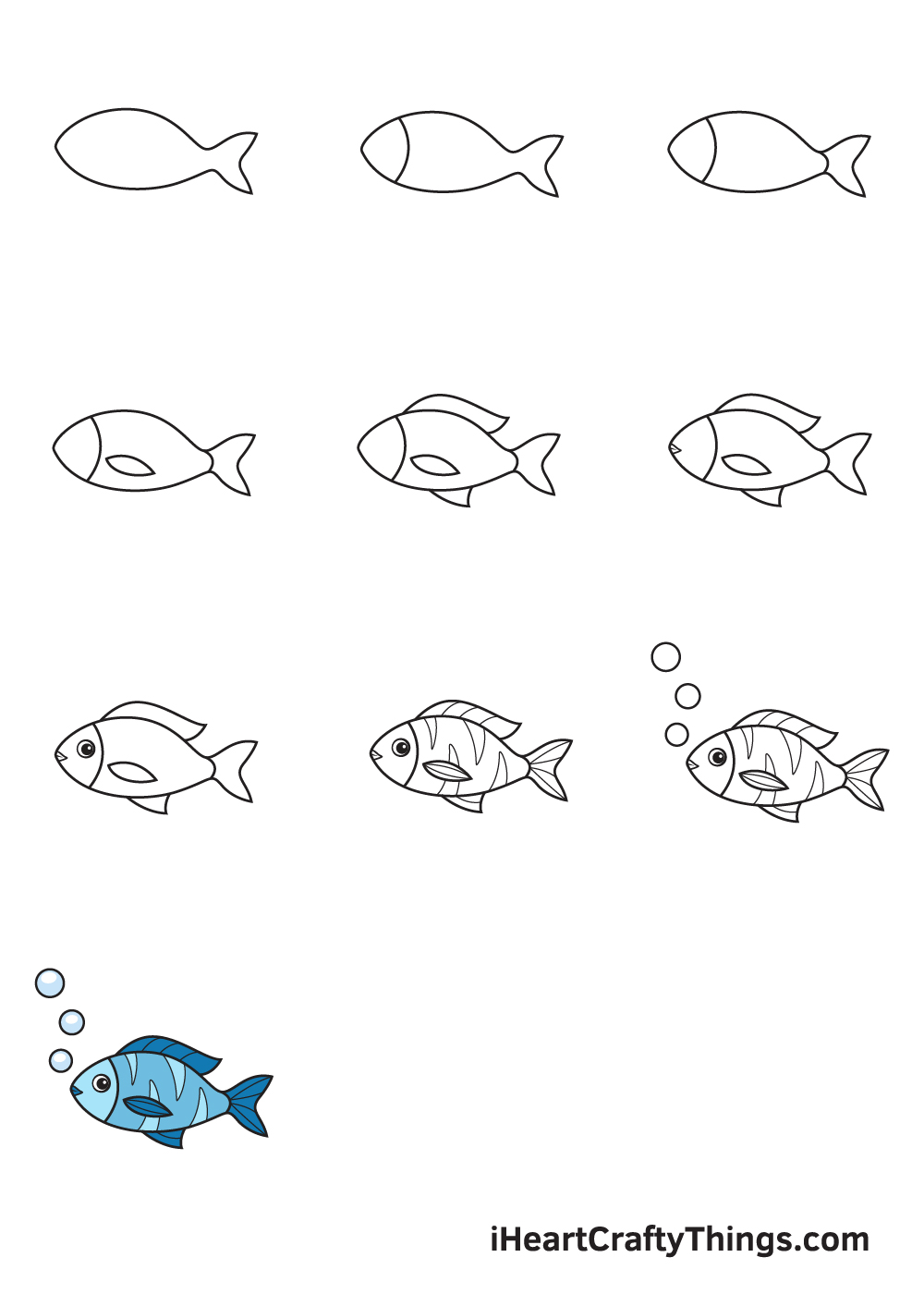 drawing fish in 9 easy steps