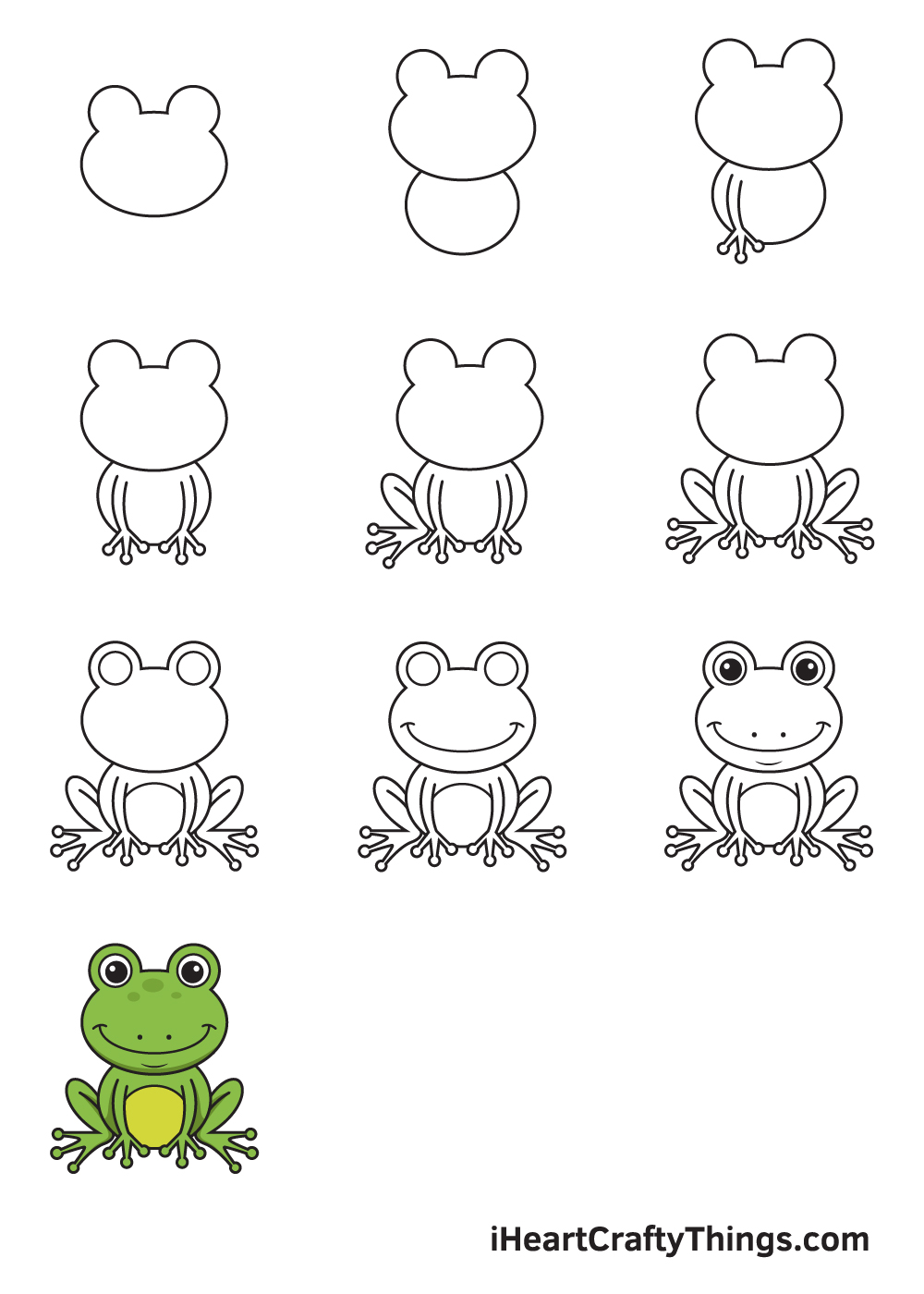 Drawing Frog in 9 Easy Steps
