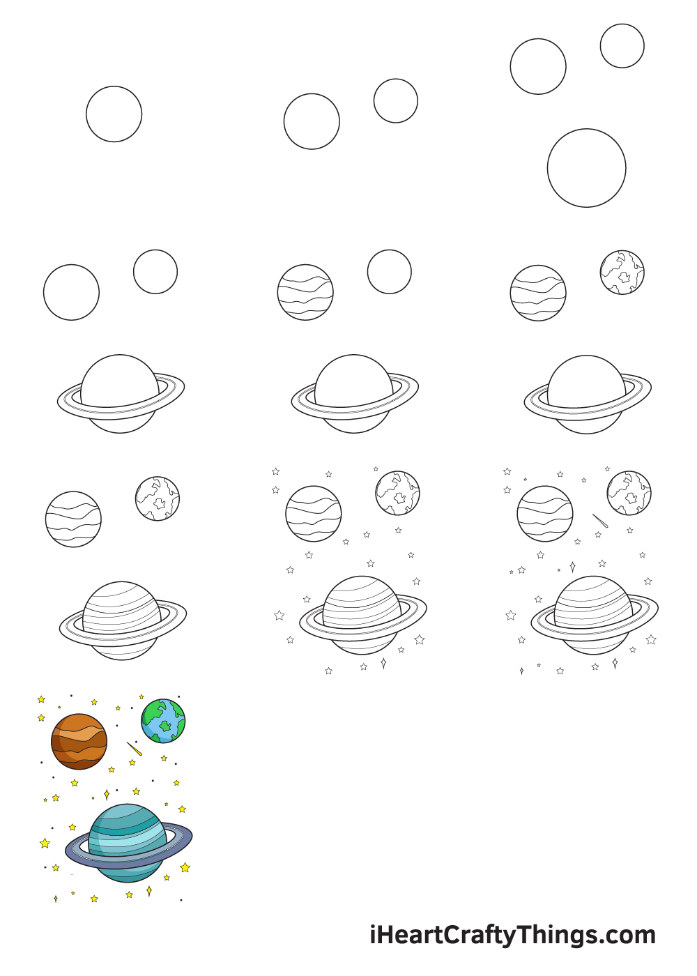drawing galaxy in 9 steps