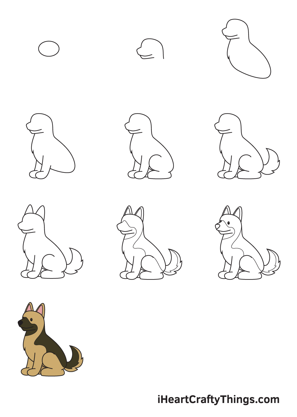 drawing German Shepherd in 9 steps