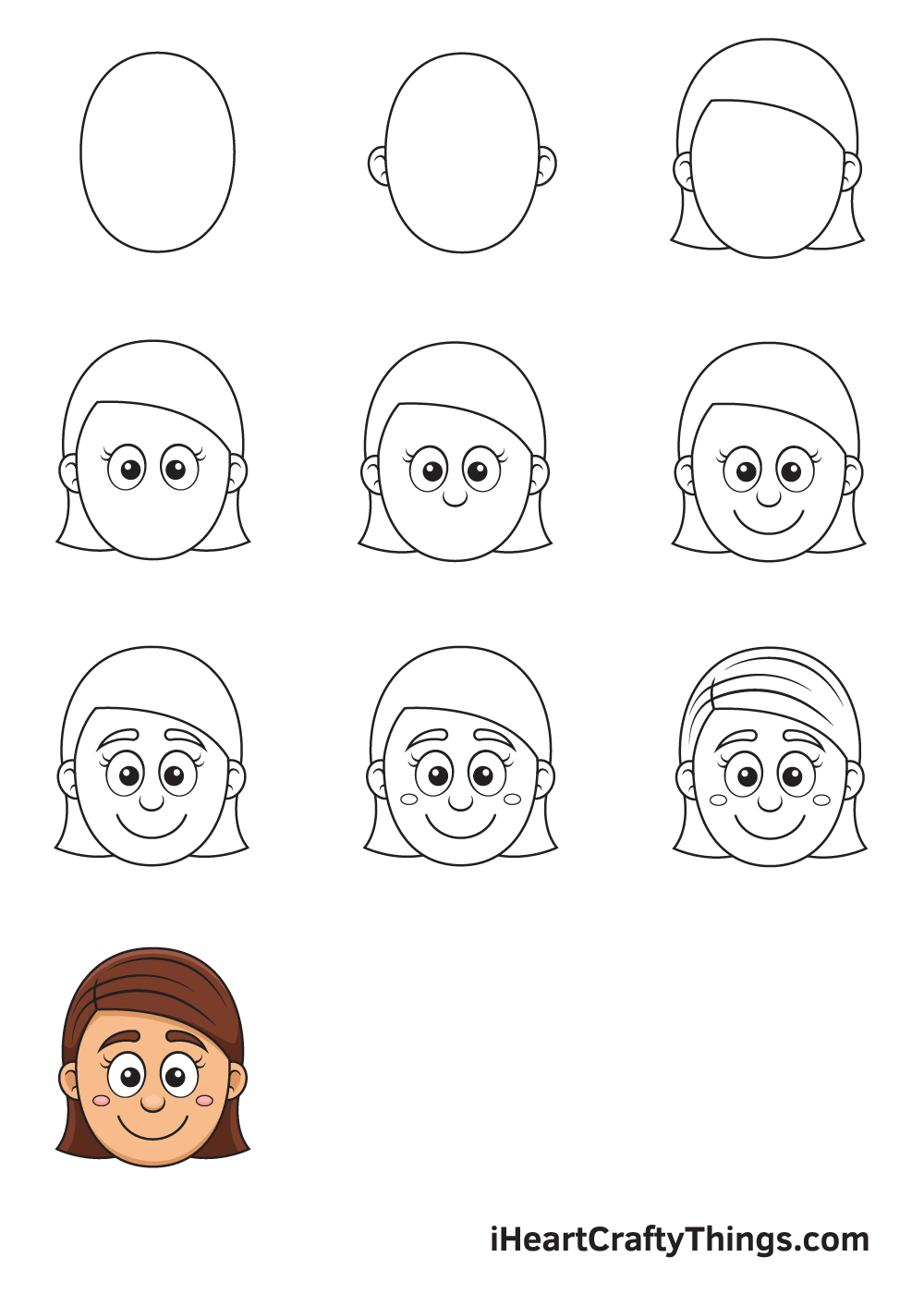Drawing Girl Face in 9 Easy Steps