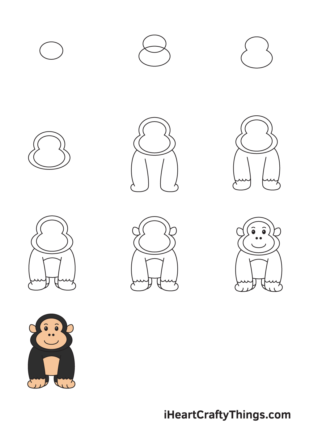 drawing gorilla in 9 steps