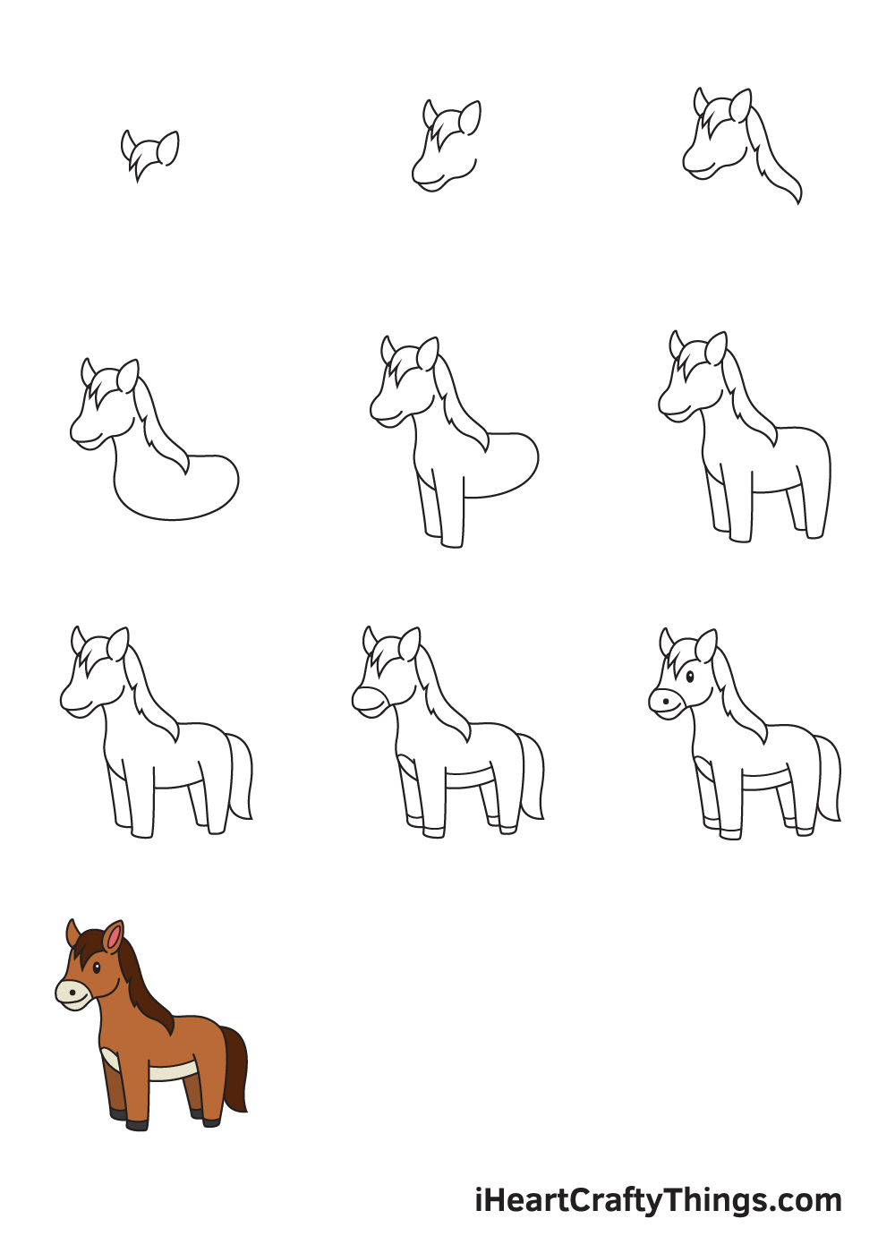 drawing a horse in 9 steps