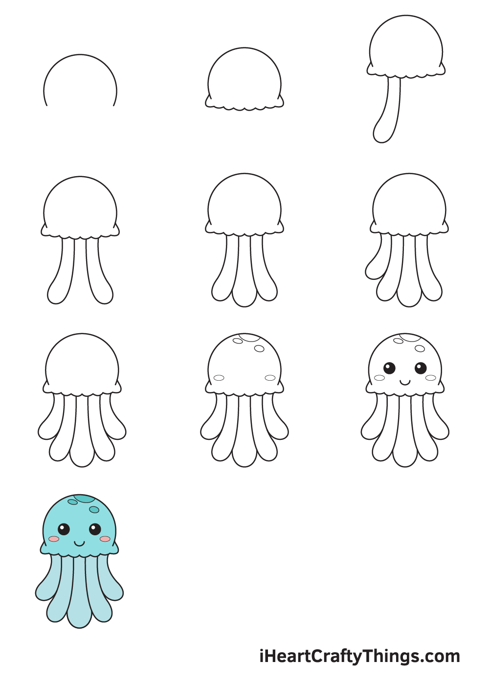 drawing jellyfish in 9 steps