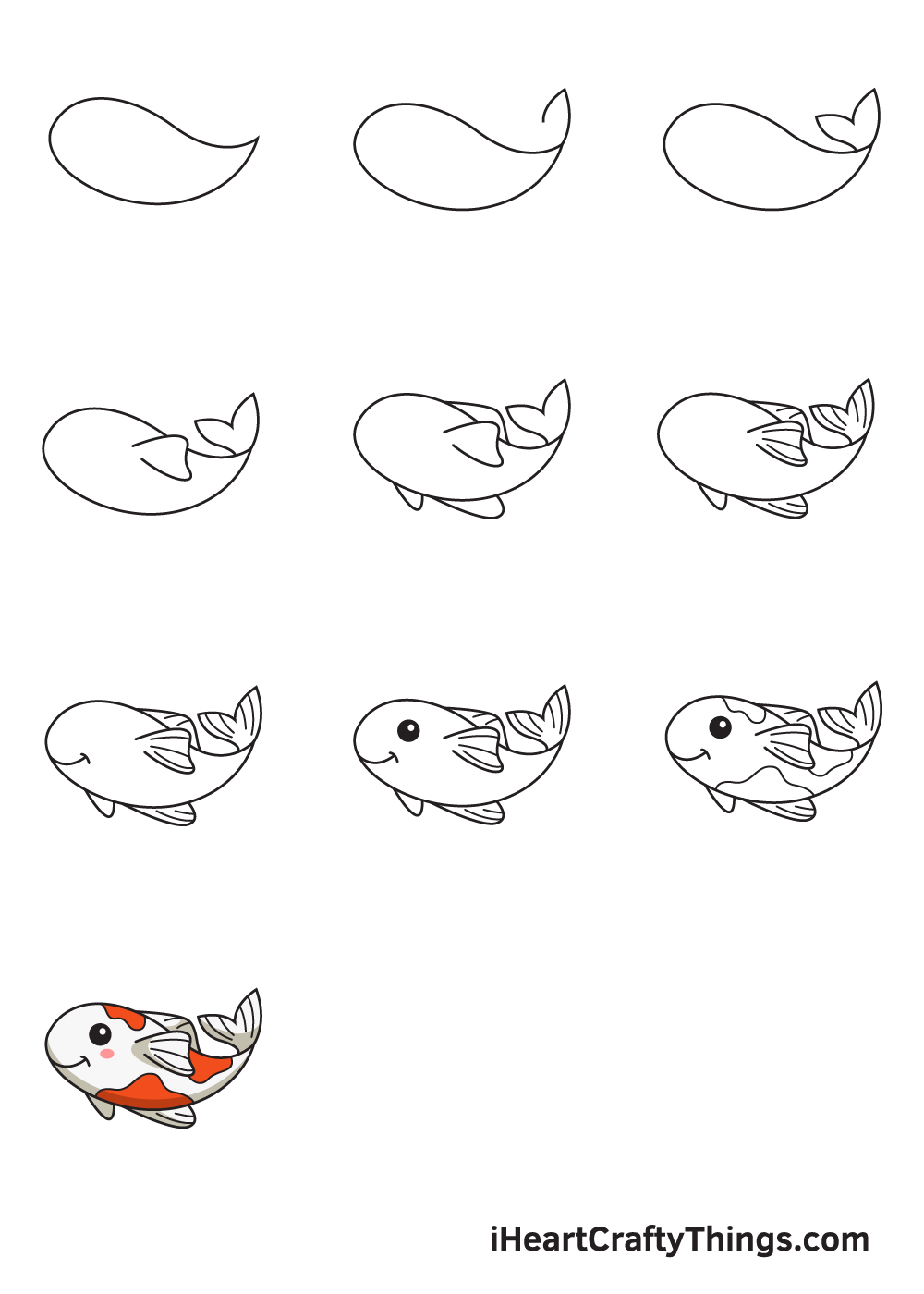 drawing koi fish in 9 steps