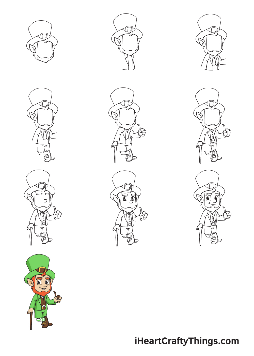 Drawing Leprechaun in 9 Easy Steps