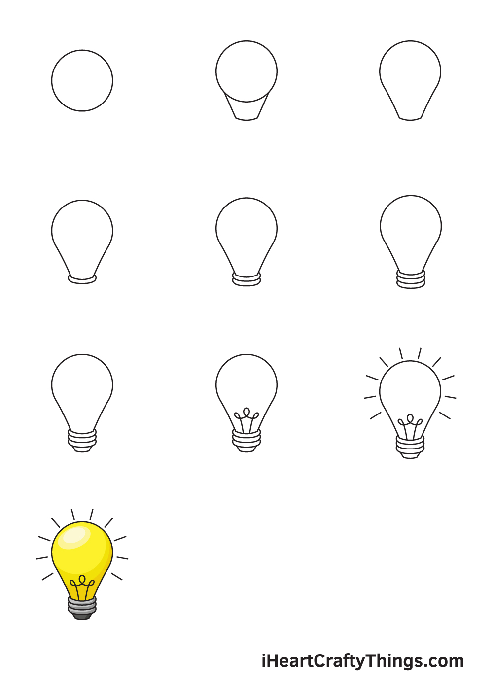 drawing light bulb in 9 steps