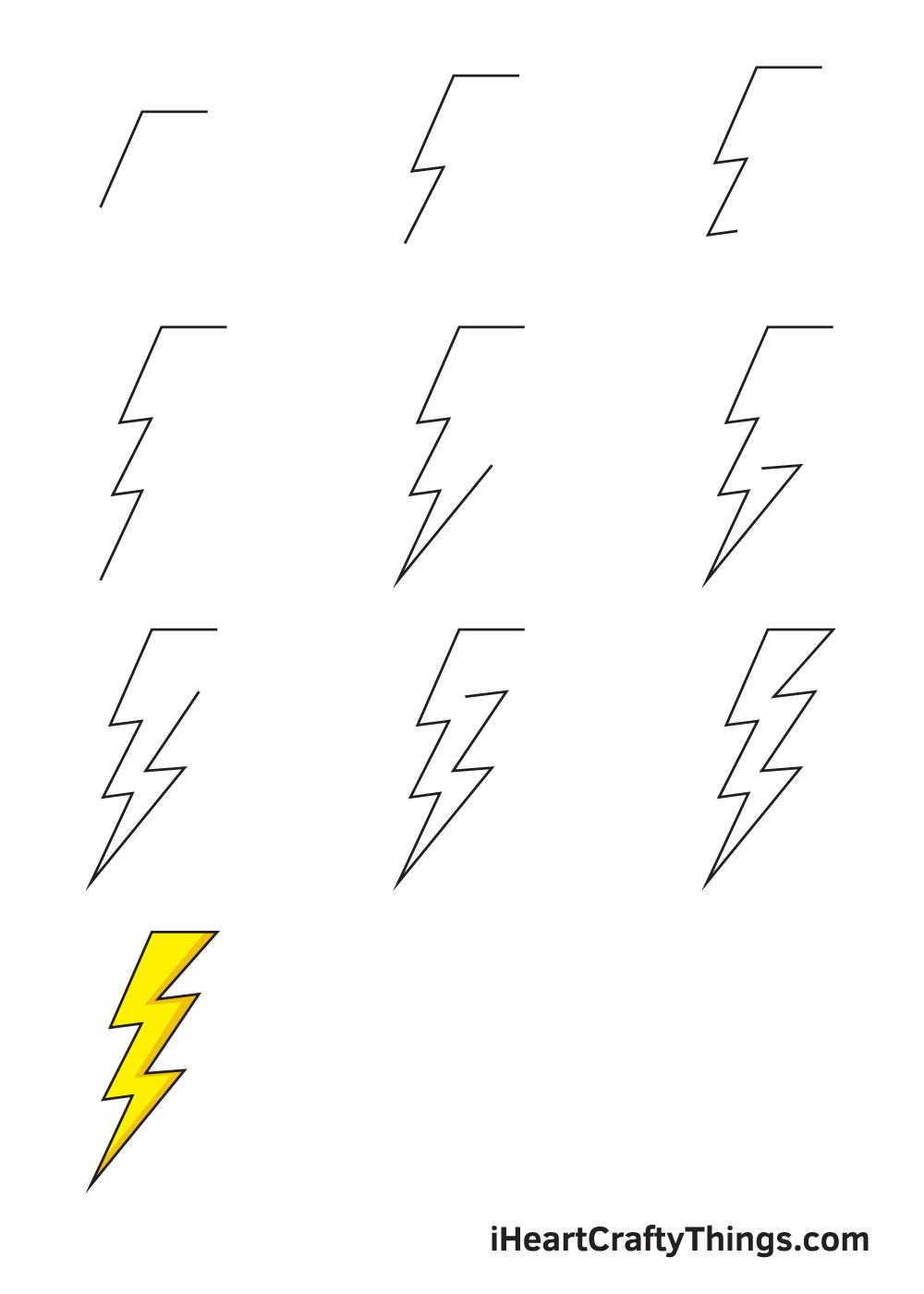 drawing lightning bolt in 9 steps