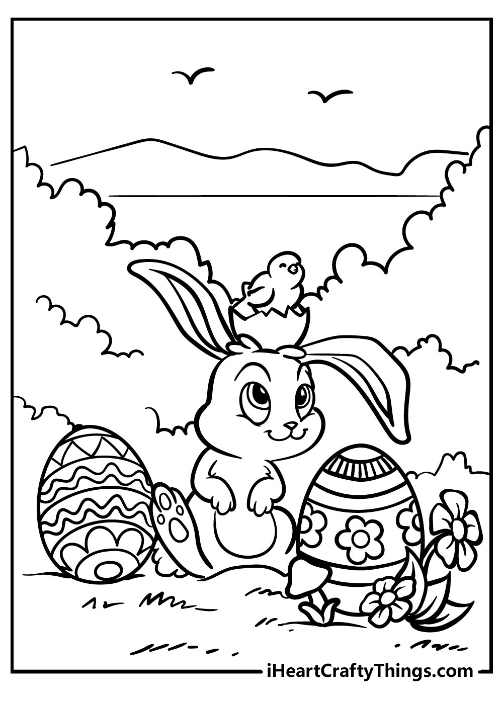 easter bunny coloring pdf sheets free printables