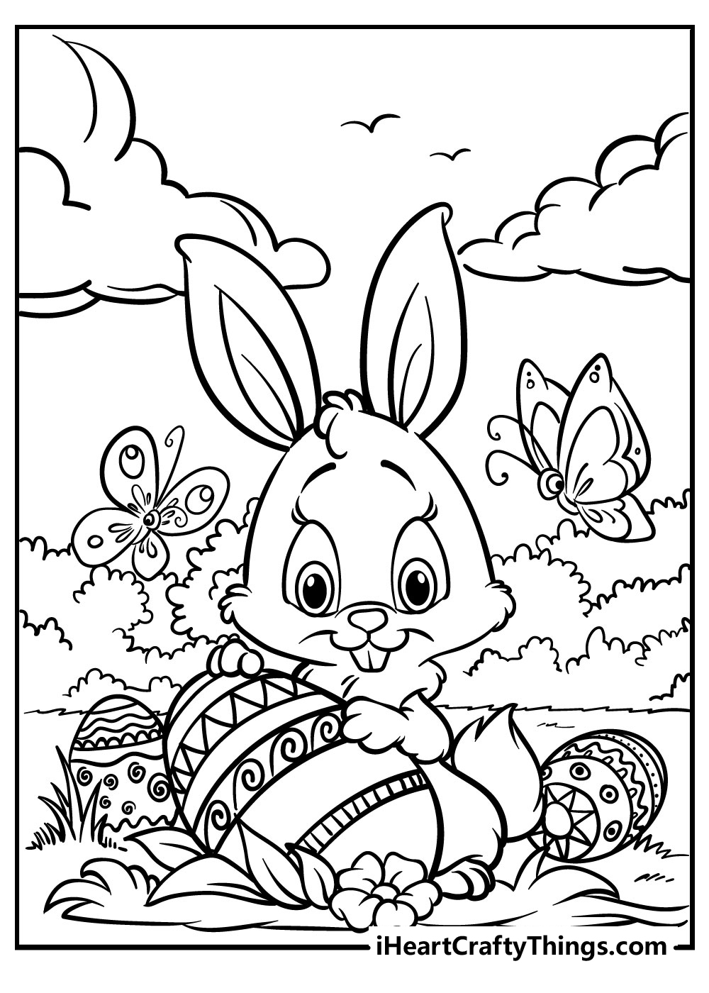 black and white easter bunny coloring free