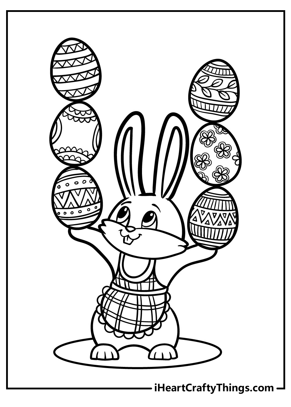 easter bunny with eggs coloring pages free printables