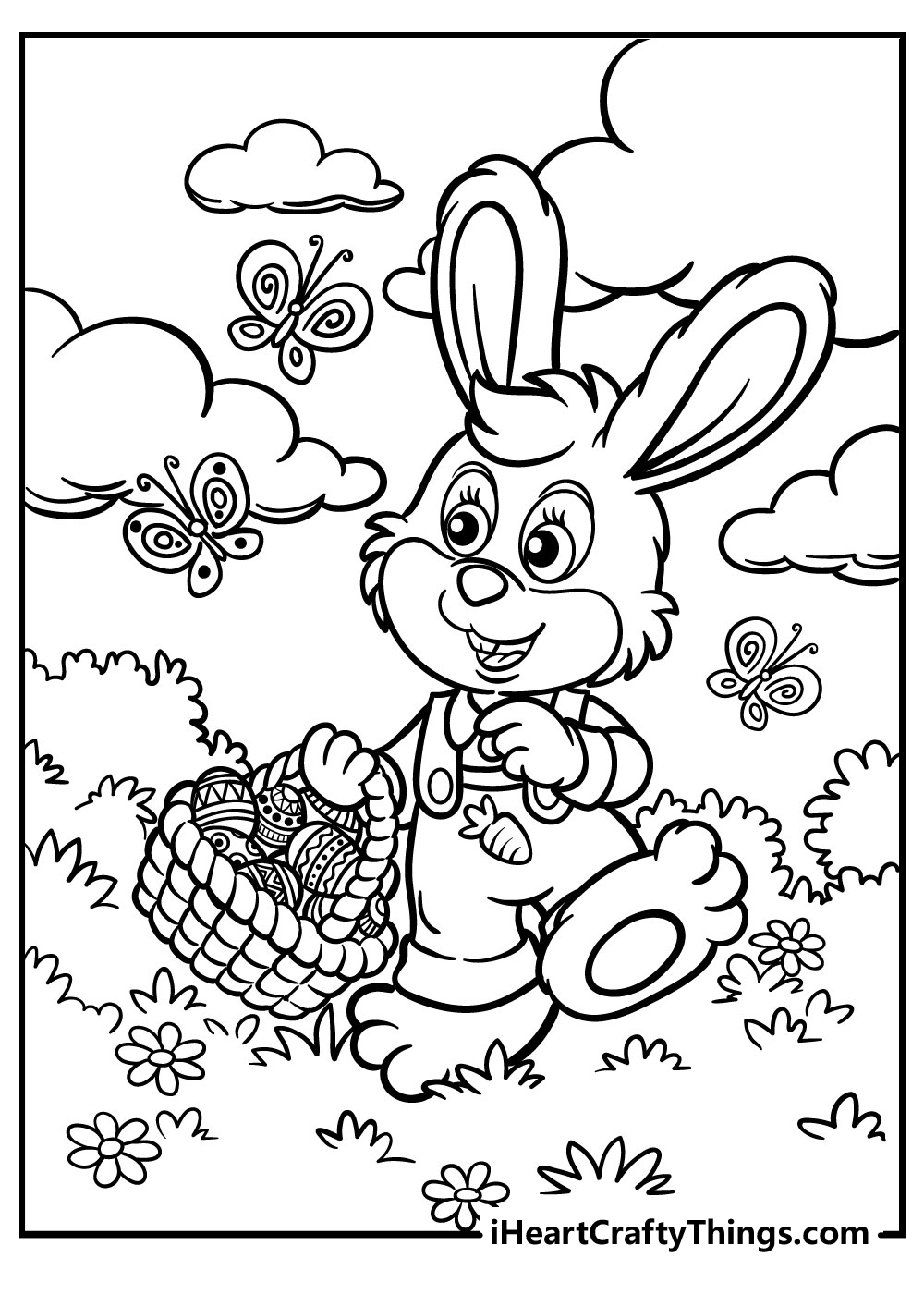 easter bunny coloring free printable pdf