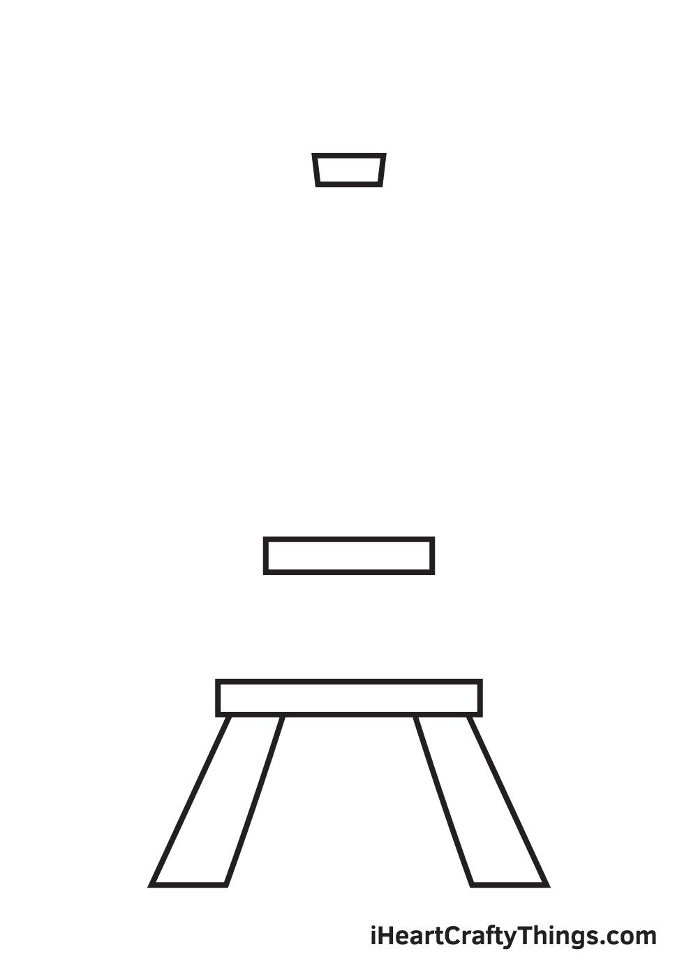 Eiffel Tower drawing - step 2