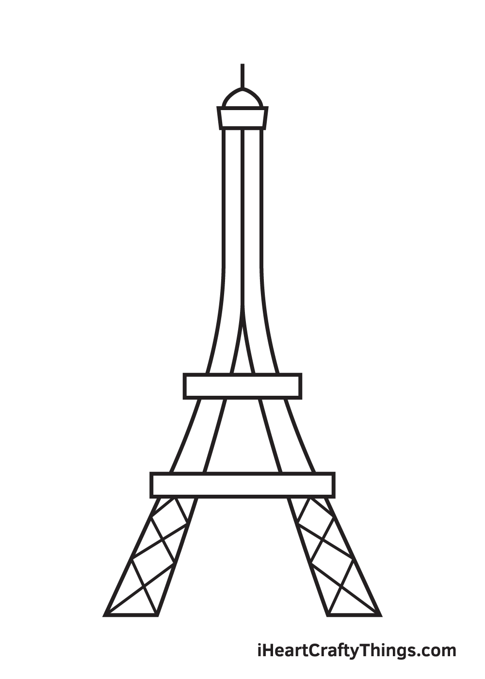 Eiffel Tower drawing - step 6