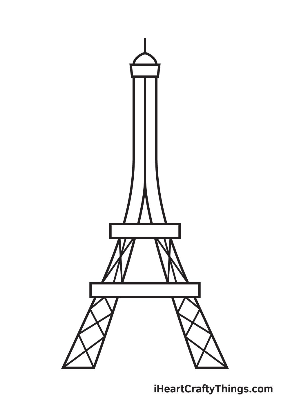 Eiffel Tower drawing - step 7
