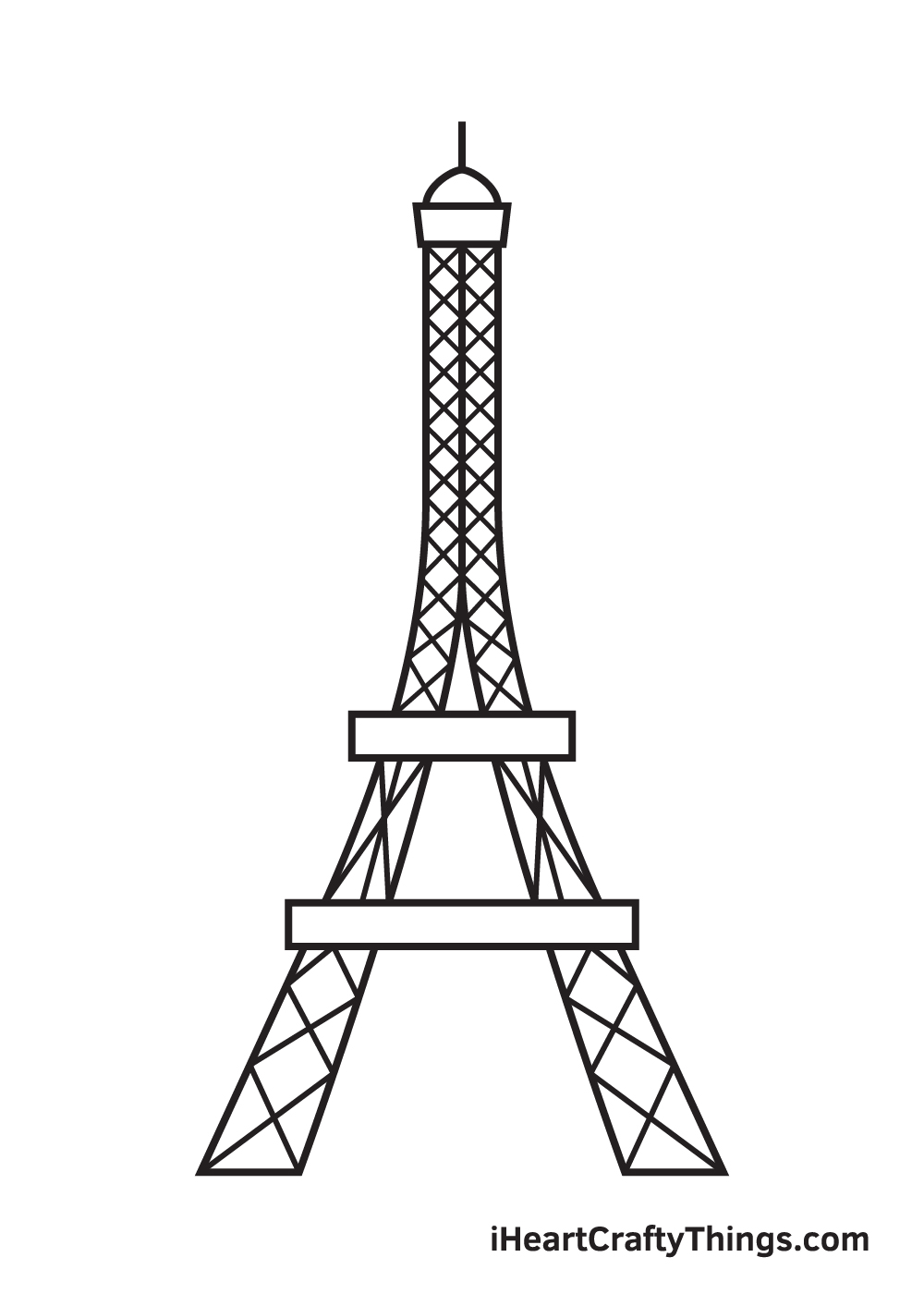 Eiffel Tower drawing - step 8