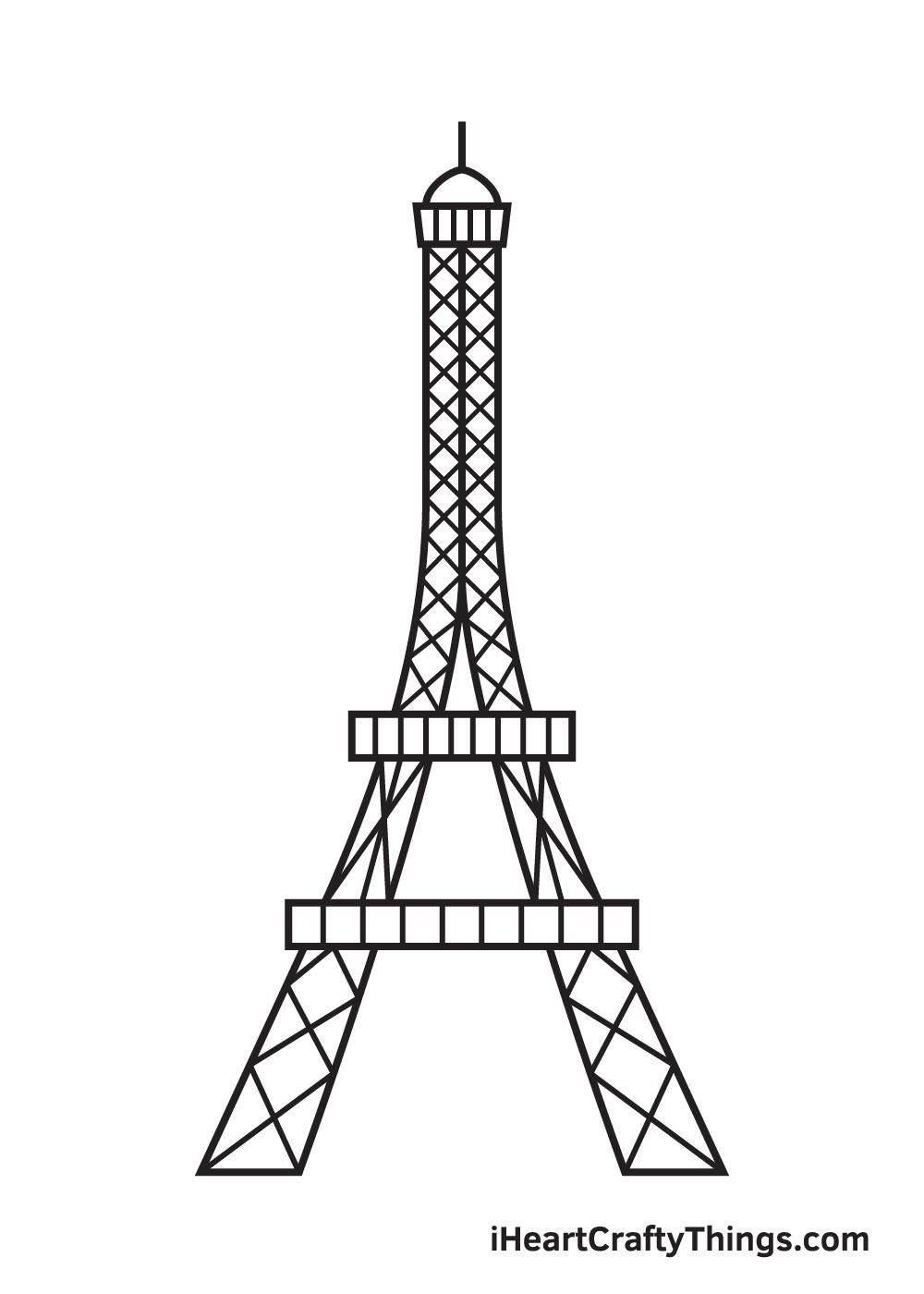 Eiffel Tower drawing - step 9