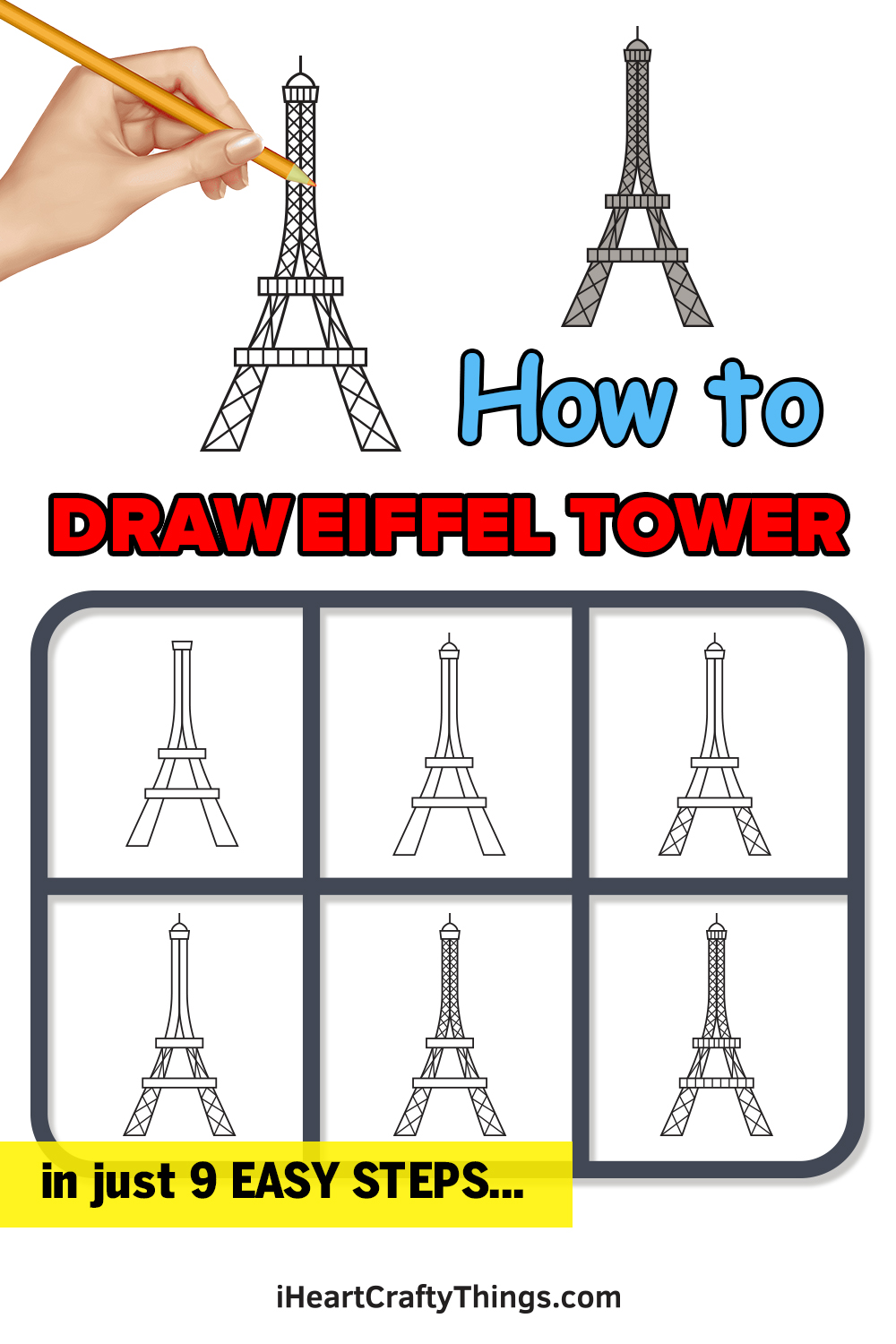 how to draw Eiffel Tower in 9 easy steps