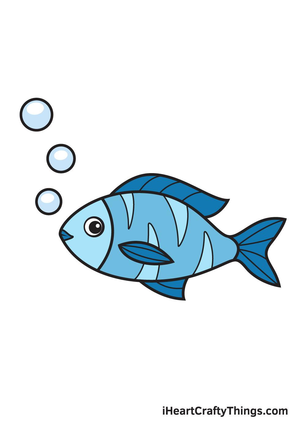 fish drawing - 9 steps
