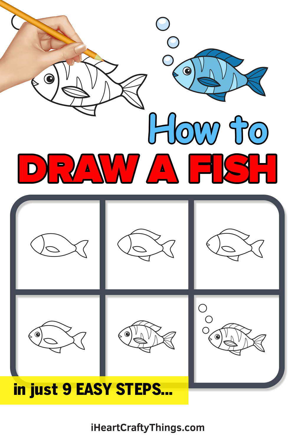 how to draw a fish in 9 easy steps