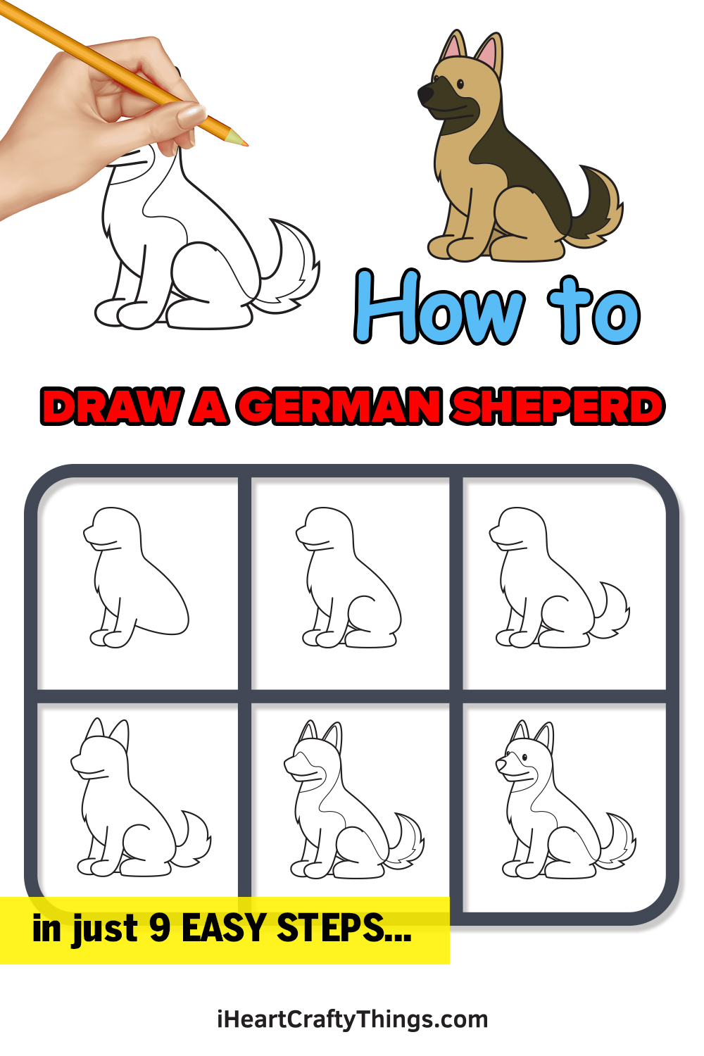 how to draw a German Shepherd in 9 easy steps