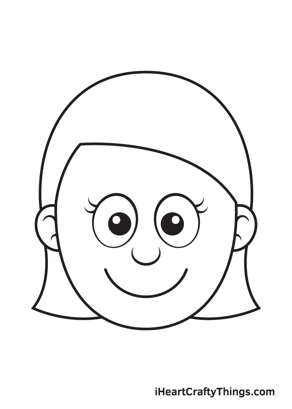 Girl Face Drawing – Step 6