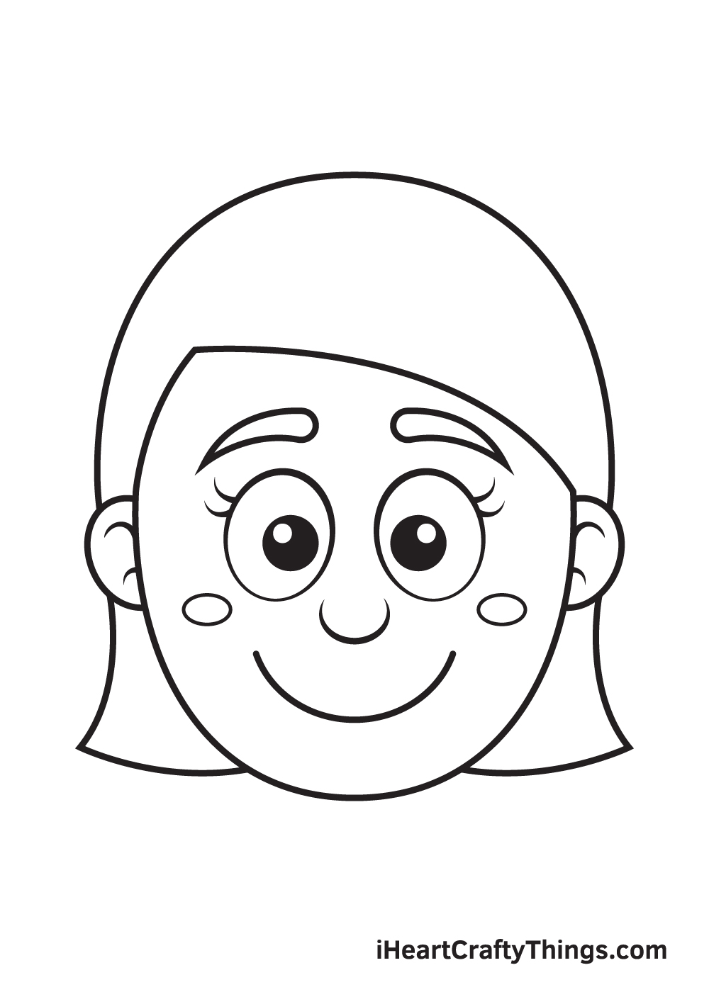 Girl Face Drawing – Step 8
